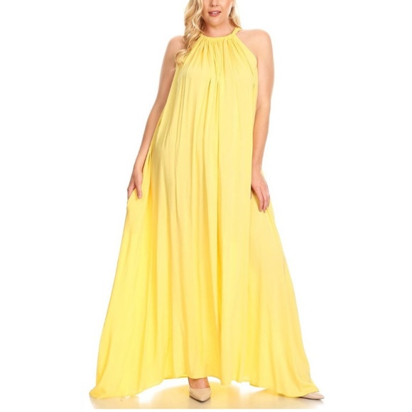 Dresses | Plus Size Yellow Boho Halter Maxi Dress | Poshmark